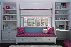 Fiorella Design - girl's rooms - white, built-ins, blue, walls, flokati, rug, built-in, daybed, fuchsia, cushion, pillows, white, roman shade, fuchsia, ribbon, trim, desk, girls room window seat, kids room window seat, built in window seat, window seat bookcases, window seat bookshelves,
