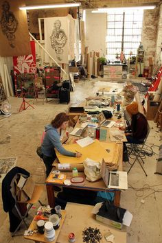 spring, Brooklyn-based artist Swoon will create a site-specific installation at the Brooklyn Museum, transforming the fifth floor Rotunda with a monumental sculptural tree. Art Studio Room, Art Studio Design, Studio Spaces, Dream Studio, Dream Art, Creative Studio, Oeuvre D'art, Art Studios, Artist At Work