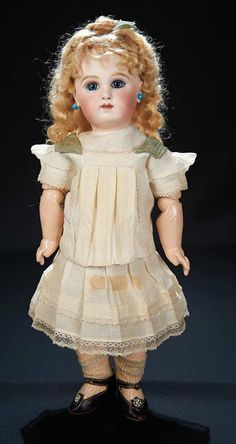 French Bisque Bebe Jumeau with Superb Wig, 1885 Promotional Booklet, Original Box  6000/8000