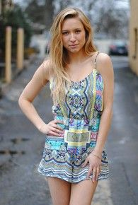 womens tribal print romper