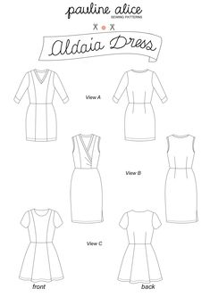 El vestido Aldaia está diseñado para telas de punto. Sin cierre, se puede poner facilmente. El corte princesa y las pinzas permiten unos ajustes sencillos.