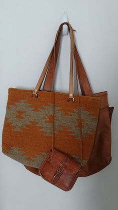 Burnt orange and brown leather