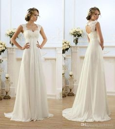 Vintage Modest Wedding Gowns Capped Sleeves Empire Waist Plus Size Pregant Wedding Dresses Beach Chiffon Country Style Bridal Gown Maternity On Line Wedding Dresses Slim A Line Wedding Dresses From Luckymay, $82.73| Dhgate.Com