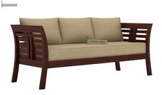 Buy Darwin 3 Seater Wooden Sofa (Mahogany Finish) Online in India - Wooden Street Buy Home Furniture, Diy Outdoor Furniture, Pallet Furniture, Living Room Furniture, Living Room Decor, Furniture Ideas, Metal Furniture, Metal Sofa, Wooden Sofa Set