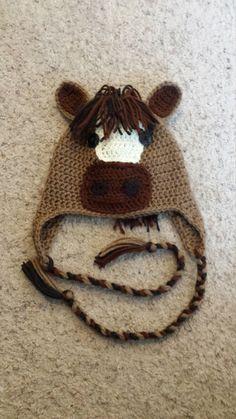 Crochet horse hat by NicolesYarnAndArt on Etsy