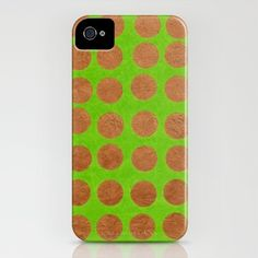 Gold Dots_Green - iPhone Case by Garima Dhawan