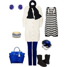 Cozy Blue, Black, and White Outfit