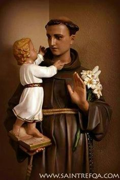 St Anthony of Padua with the Child Jesus Religious Images, Religious Icons, Religious Art, Catholic Priest, Catholic Saints, Roman Catholic, Saint Antony, Saint Anthony Of Padua, Francis Of Assisi