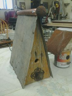 A-frame barn wood birdhouse