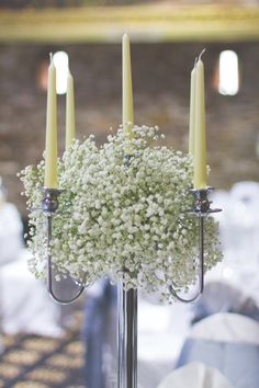 Simple Chic Music Wedding Candleabra Flowers Http:Www. Candleabra Wedding Centerpieces, Candelabra Flowers, Gypsophila Wedding, Wedding Decorations, Wedding Candelabra, Candelabra Centerpiece, Floral Decorations, Centerpiece Ideas, Table Decorations