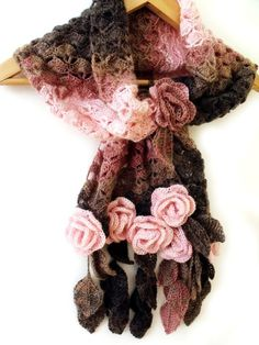 Crochet scarf with freeform 3D flowers and leaves prayer shawl brown pink