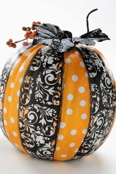 Cute and easy - don't bother polka-dotting the pumpkin, just wrap with ribbon!
