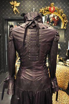 Venetian Costume Corset Luxury Bespoke Leather Dress Coat from ImperoLondon Steampunk Costume, Steampunk Clothing, Steampunk Fashion, Victorian Steampunk, Victorian Fashion, Larp, Purple Leather, Coat Dress, Designer Dresses