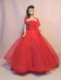 Vintage Barbie VVHTF HALINA'S DOLL FASHIONS CHICAGO CHERRY RED EVENING GOWN (08/17/2013)