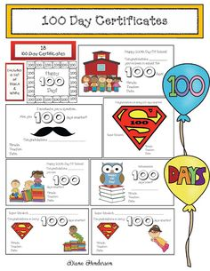 Classroom Freebies: 100 Day Certificates