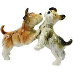 Vintage Karl Ens Porcelain Fox Terrier Dog Pair from a-dogs-tale-collectibles on Ruby Lane