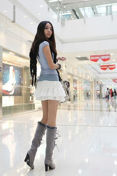 sexy asian boots at DuckDuckGo Grey Boots, High Boots, Thigh Highs, Pretty Girls, Thighs, Mini Skirts, Ballet Skirt, Asian, Street Style