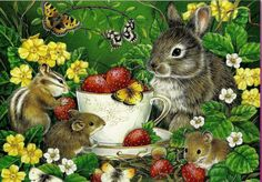 """""""BERRY SWEET BUNNY"""" Jane Maday Boxless Puzzle FLORAL Butterflies <NEW> #SureLox"""