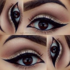 soft, neutral winged out cut crease #makeup with chrystal + black #arabic double winged #eyeliner @makeupbysahira