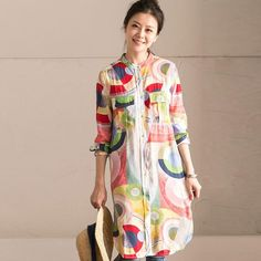 Women Casual Printing Cotton Shirt Dress