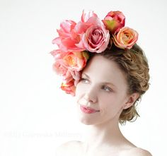SALE Floral Coral Rose Lilly Crown Fabric by EllaGajewskaHATS, £119.00
