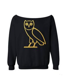 OVO Owl Sweatshirt Drake Shirt BLACK off the shoulder slouch jumper wide neck boat neck all sizes on Etsy, $23.99