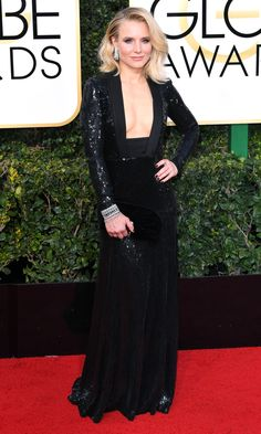 KRISTEN BELL takes the plunge in a low, square-neckline full sequin Jenny Packham gown with tons of Harry Winston bling.
