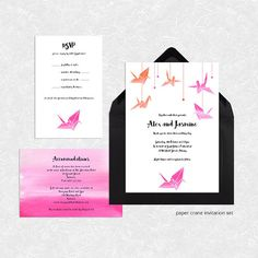 Origami Paper Crane Wedding Invitation Suite   Printable File   Bird Modern  Asian Watercolour Japanese Inspired Pink Orange Rsvp Invite Set
