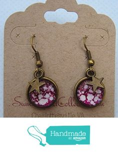 Antiqued Gold-Tone Glitter Glass Star Charm Galaxy Dangle Earrings Magenta and White from Summerfield Collection http://www.amazon.com/dp/B019M1T3CI/ref=hnd_sw_r_pi_dp_pFEGwb0N7KPJ1 #handmadeatamazon