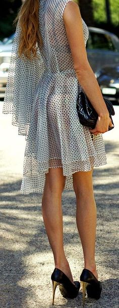 Pajonk White Hot Black Dot Layered Sheer Dress by Maffashion