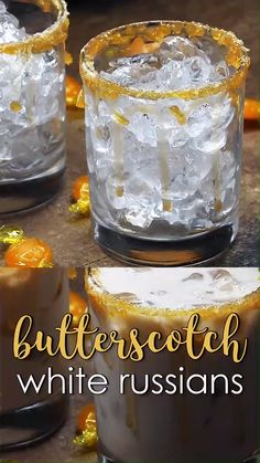 Butterscotch White Russians - Butterscotch White Russians – White Russians with butterscotch schnapps and a crushed butterscotch candy and caramel rim! Source by emma_stitch - Cocktails Bar, Bar Drinks, Cocktail Drinks, Yummy Drinks, Alcoholic Drinks, Whiskey Drinks, Baileys Drinks, Scotch Whiskey, Cocktails For Men