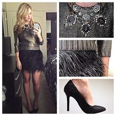 Holiday look - Feather skirt Karla Reed's Instagram