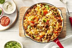 Then you'll love this quick and easy taco-inspired rice skillet. Lay your family's favourite taco toppings out and let everyone personalize their own dish. Casserole Recipes, Soup Recipes, Dinner Recipes, Cooking Recipes, Dinner Dishes, Chicken Recipes, Recipies, Taco Skillet Recipe, Skillet Meals