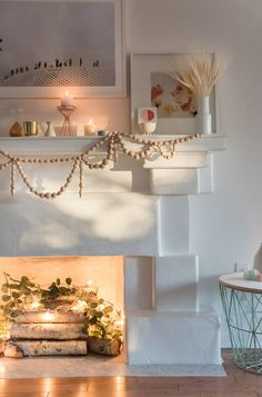 How to Dazzle Your Home With Holiday Lights All Year Long – Diy Garland 2020 Fireplace Filler, Empty Fireplace Ideas, Unused Fireplace, Fireplace Lighting, Candles In Fireplace, Fake Fireplace, Decorative Fireplace, Faux Foyer, Boho Deco