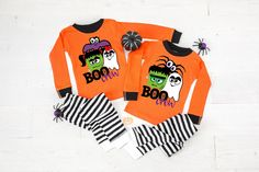 Boo Crew Halloween Baby or Toddler Pajamas - 1st Halloween - Frankenstein Pajamas - Ghost Pajamas - Spider Pajamas - Halloween Pajamas by TwinkleTwinkleTees on Etsy Funny Workout Tanks, Funny Tank Tops, Halloween Pajamas, Baby Halloween, Baby Christmas Pjs, Bachelor Party Shirts, Family Pjs, Groom Shirts, Toddler Pajamas