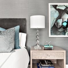 bedroom with a mix of grays and blues | Clean Design