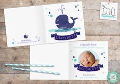 faire-part, naissance, birth, bleu, blue, bébé, baby, baleine, whale, aquarelle, watercolor, studio-lou.fr/