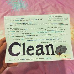 Clean by Taylor Swift lyrics, hand-drawn by http://allaroundtaylor.tumblr.com/.