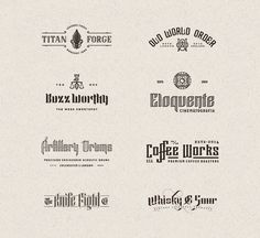 Diverse vintage inspired logos and graphics from 2013 and 2014 by Joe White.