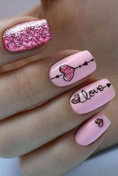 valentin nägel kunst art des ongles de la saint-valentin - Care - Skin care , beauty ideas and skin care tips Love Nails, My Nails, Teen Nails, Cute Pink Nails, Pink Gel, Pink Glitter, Pink Nail Art, Glitter Hearts, Nail Art Diy