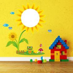 Los niños creativos lavable etiqueta de la pared decoración de girasol sala de bloc de dibujo