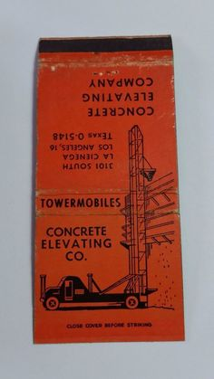 CONCRETE ELEVATING CO. LOS ANGELES CALIFORNIA 30 STICK #MatchBook Cover To order your Business' own personalized #matchbooks or #matchboxes GoTo: www.GetMatches.com or Call 800.605.7331 today!