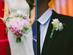 pink and white wedding bouquet with peonies | photo: www.levkuperman.com