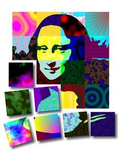 Pop art group project - Use Mona Lisa by Leonardo daVinci - Add patterns and bright colors! Group Art Projects, Collaborative Art Projects, School Art Projects, Le Sourire De Mona Lisa, Programme D'art, Portraits Pop Art, Classe D'art, 5th Grade Art, Third Grade