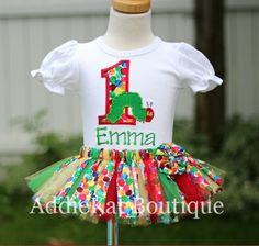 The Very Hungry Caterpillar Personalized Fabric Scrap Sewn Tutu Birthday Outfit by AddieKat Boutique