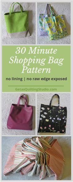 Quick shopping bag pattern- learn to sew beautiful, reusable shopping bags. No lining, no seam allowances exposed, clean and elegant look! Click through to learn two new techniques.