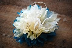 Greedy For Colour: Tissue Paper and Tulle Flower Tutorial. Tulle Flowers, Tissue Paper Flowers, Faux Flowers, Diy Flowers, Beaded Flowers, Fabric Flowers, Tulle Poms, Flower Diy, Fleurs Diy