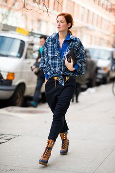 Plaid on silk, the Taylor Tomasi Hill way. #fashionweek #streetstyle