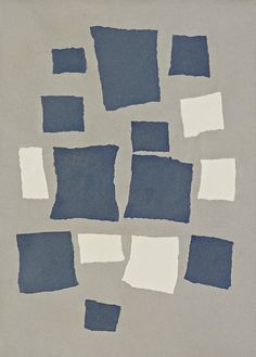 collage with squares arranged according to the laws of chance.  jean arp, 1916