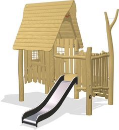 Outside porch with angled rock climber access and slide egress. Wizards, Autocad, Play Houses, Playground, 3d, Model, Cabins, Children Playground